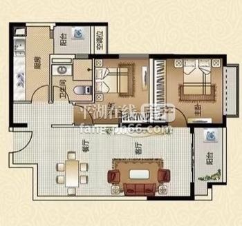 出售恒大名都2室2厅1卫89平米185万住宅